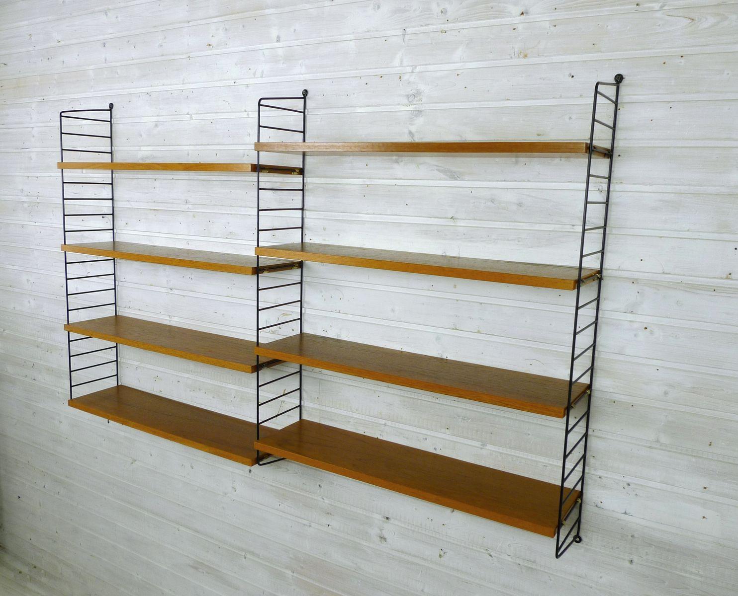 schwedisches wand regalsystem mit acht teak b den von nisse strinning f r string 1950er bei. Black Bedroom Furniture Sets. Home Design Ideas
