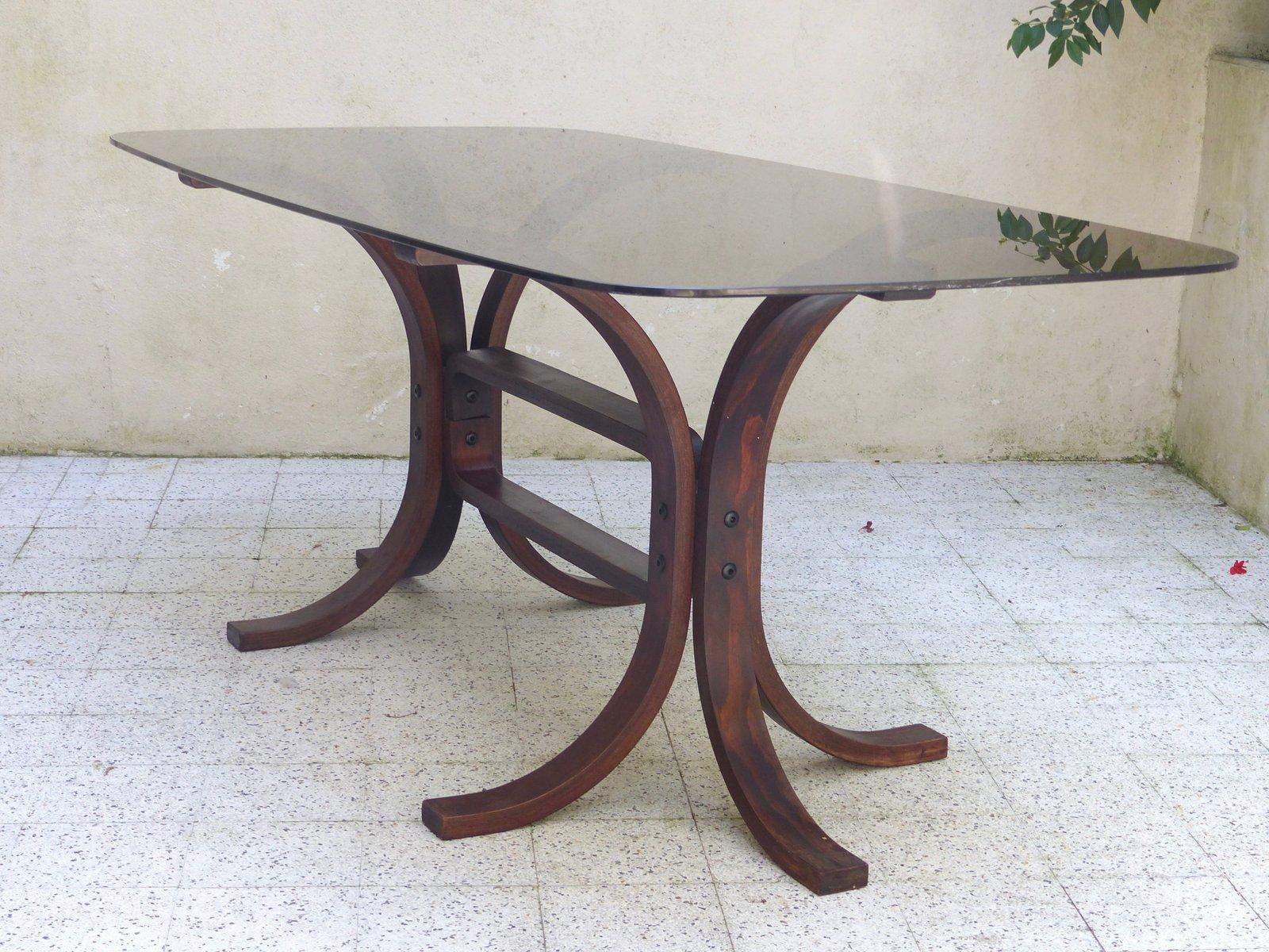 Vintage tisch aus glas geschwungenem holz bei pamono kaufen for Tisch glas holz