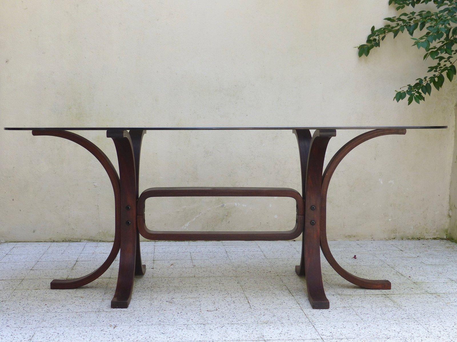 Table Vintage en Verre et Bois Incurvé en vente sur Pamono