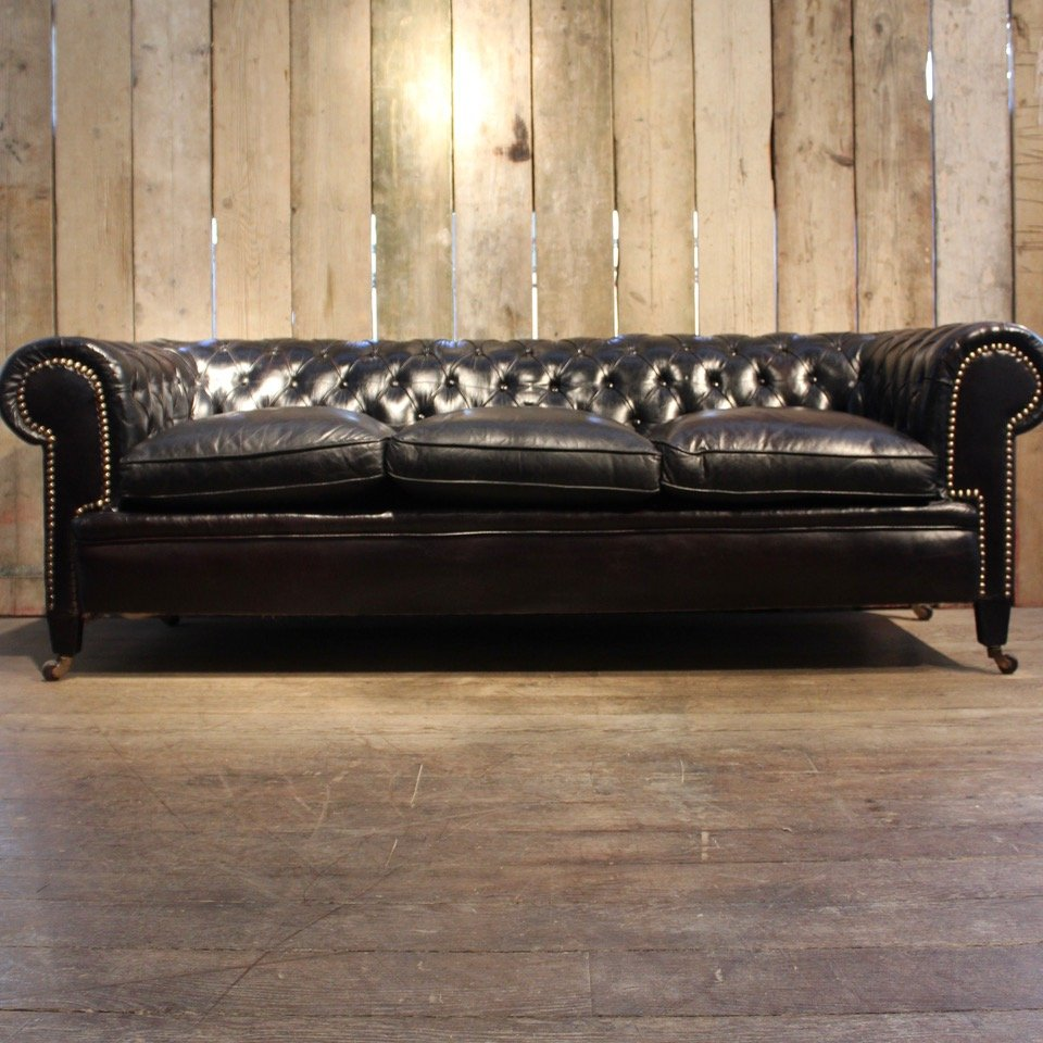 - Vintage Black Leather Chesterfield Sofa For Sale At Pamono