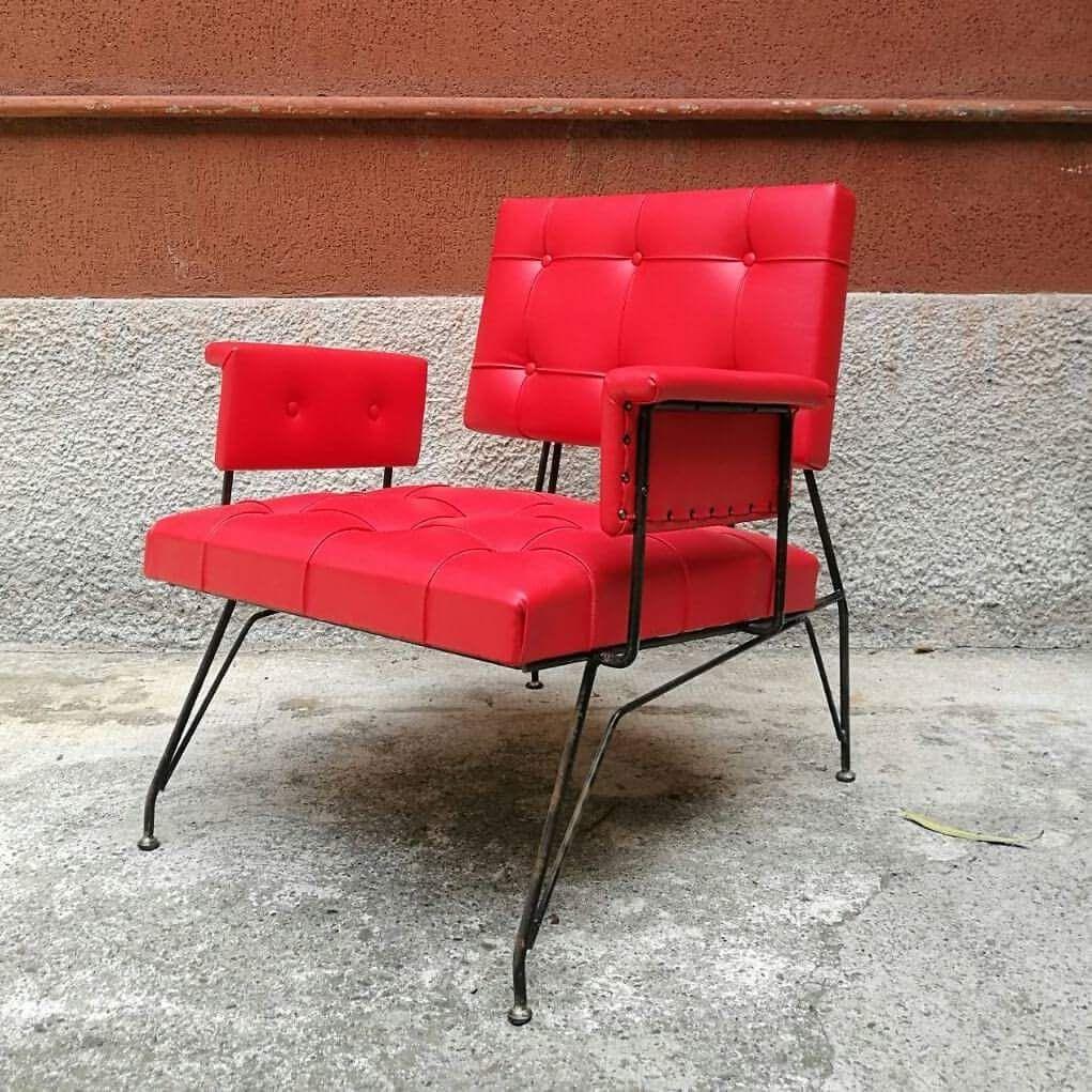 Roter kunstleder armlehnstuhl 1960er bei pamono kaufen for Armlehnstuhl kunstleder