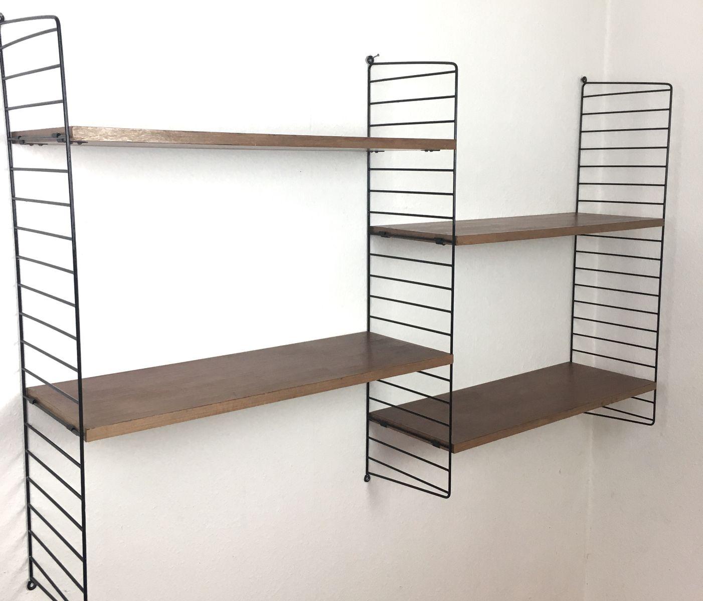 Nisse Strinning mid century teak wall shelf by nisse strinning for string 1960s for