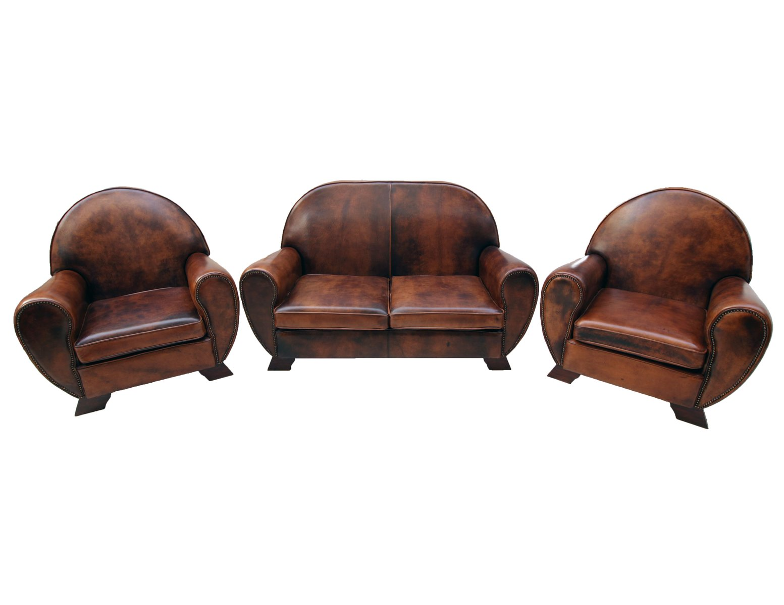 Vintage Leather Club Living Room Set, Set of 3 for sale at Pamono
