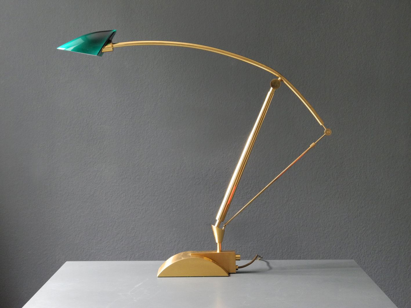 Large adjustable brass halogen table lamp with green glass shade large adjustable brass halogen table lamp with green glass shade 1980s mozeypictures Image collections