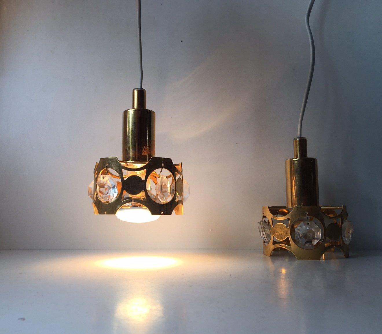 kleine vintage danish modern h ngelampen aus kristallglas. Black Bedroom Furniture Sets. Home Design Ideas