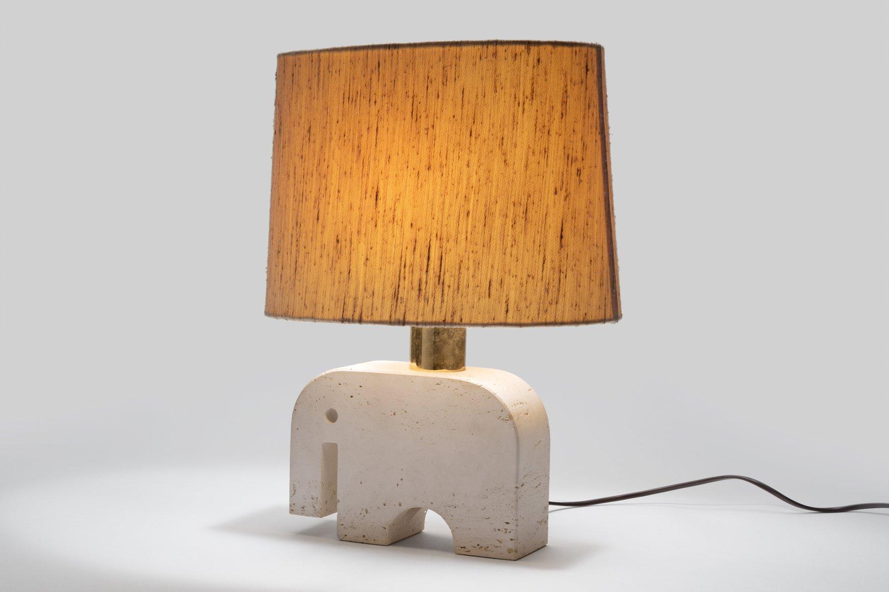 Attractive Italian Travertine Elephant Lamp From Fratelli Minnelli, 1970s