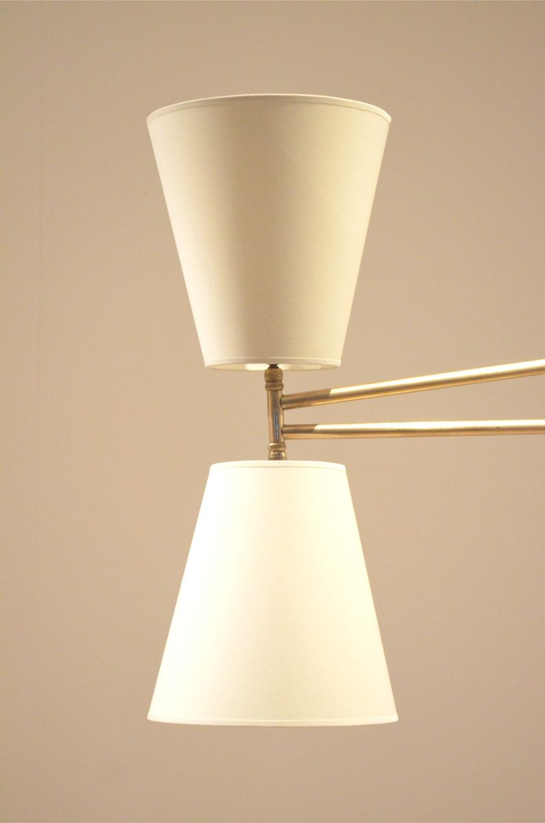 gro e franz sische mid century lampe aus messing mit diabolo leuchte bei pamono kaufen. Black Bedroom Furniture Sets. Home Design Ideas