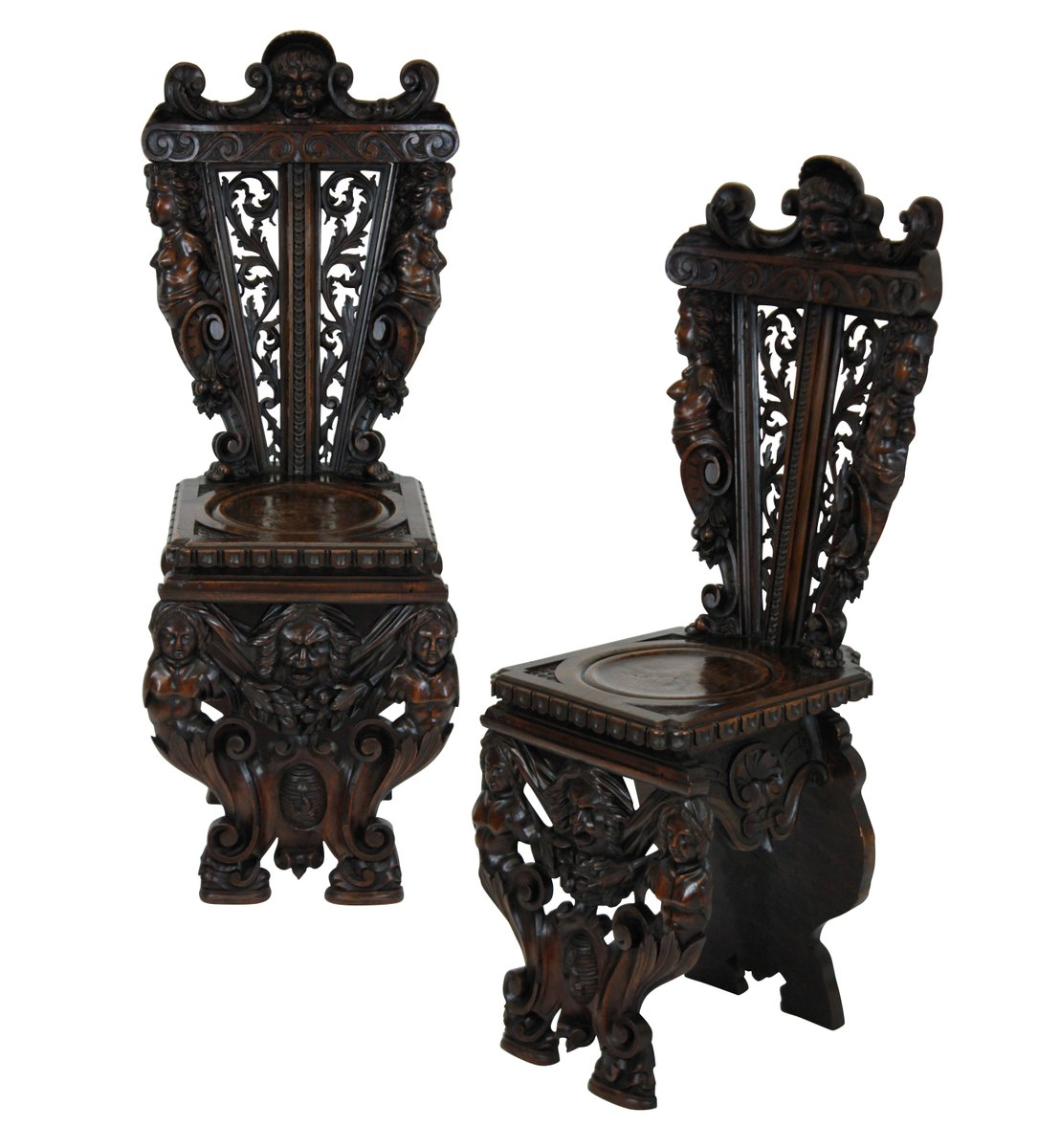 Italian Hall Chairs, 1830s, Set of 2 - Italian Hall Chairs, 1830s, Set Of 2 For Sale At Pamono