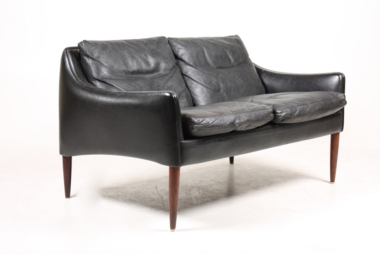 sofa aus schwarzem leder palisander von hans olsen 1960er bei pamono kaufen. Black Bedroom Furniture Sets. Home Design Ideas