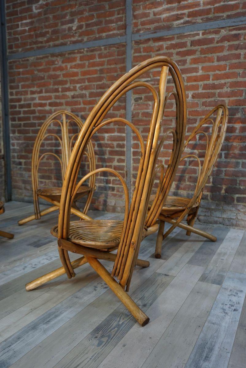 mid century rattan gartenst hle 1960er 4er set bei. Black Bedroom Furniture Sets. Home Design Ideas