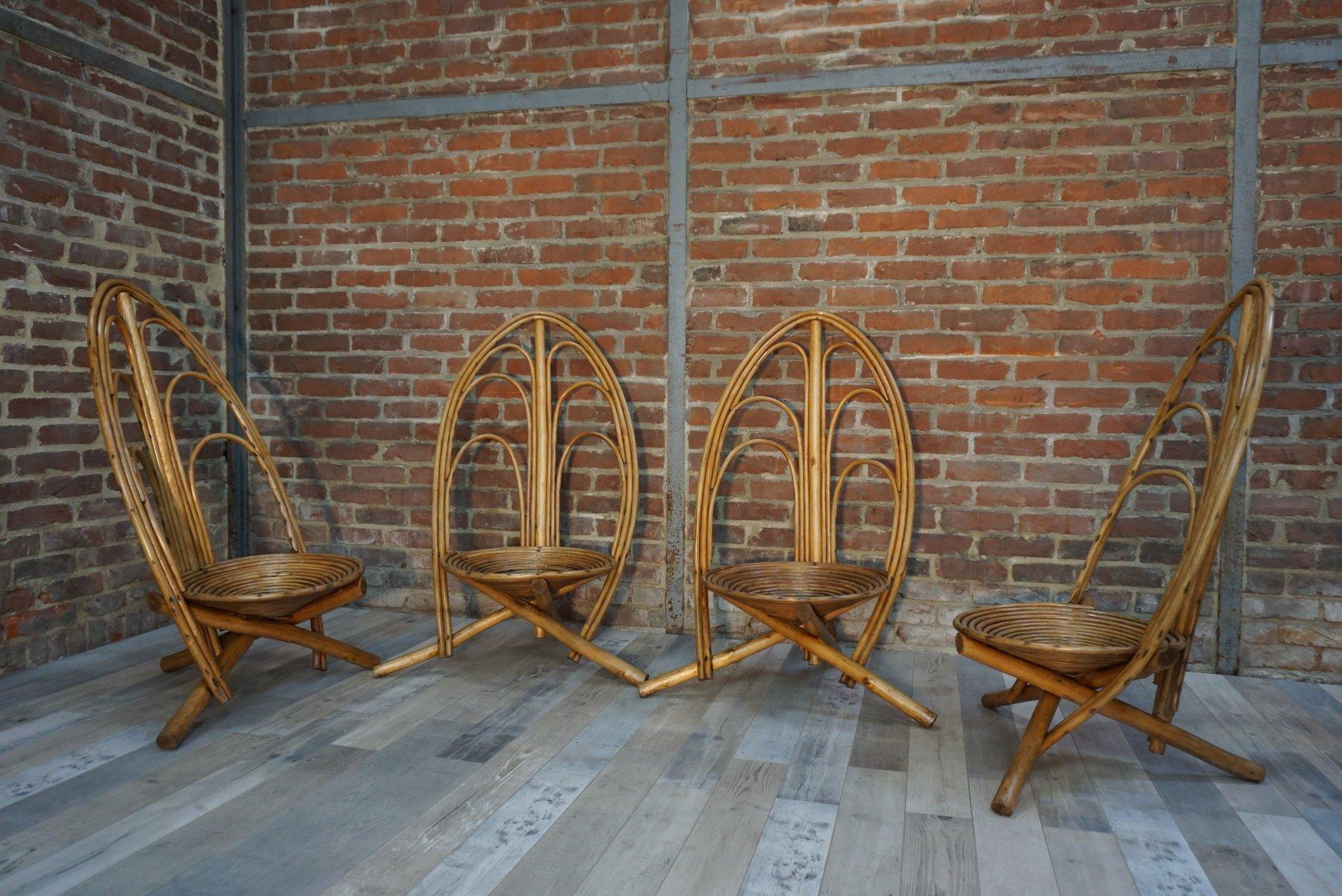 mid century rattan gartenst hle 1960er 4er set bei pamono kaufen. Black Bedroom Furniture Sets. Home Design Ideas
