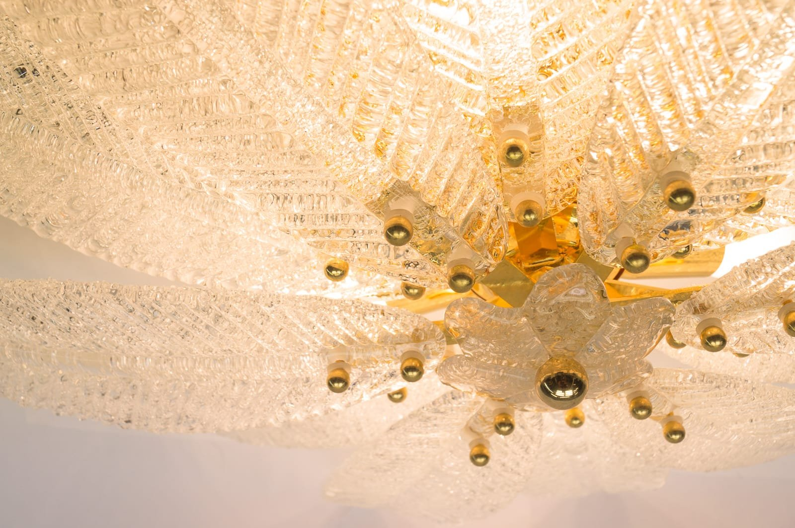 Vintage Model Basmar Murano Glass Leaves Wall Lamp for sale at Pamono