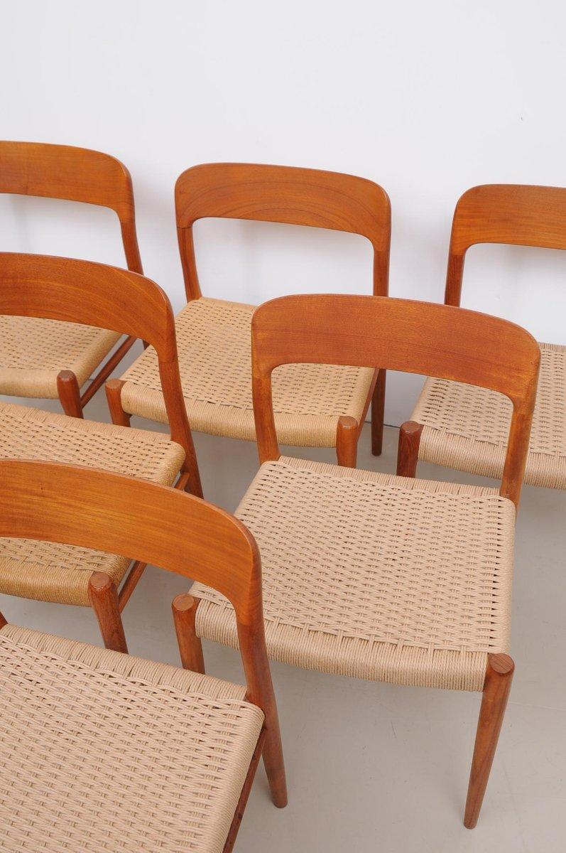 d nische modell 75 st hle von niels m ller f r j l m ller 1950er 6er set bei pamono kaufen. Black Bedroom Furniture Sets. Home Design Ideas