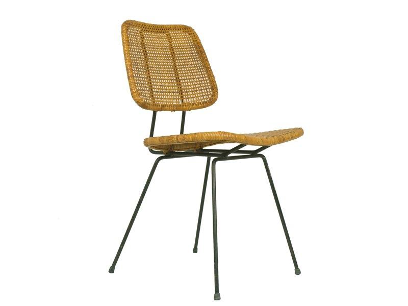 italienischer eisen rattan stuhl 1950er bei pamono kaufen. Black Bedroom Furniture Sets. Home Design Ideas