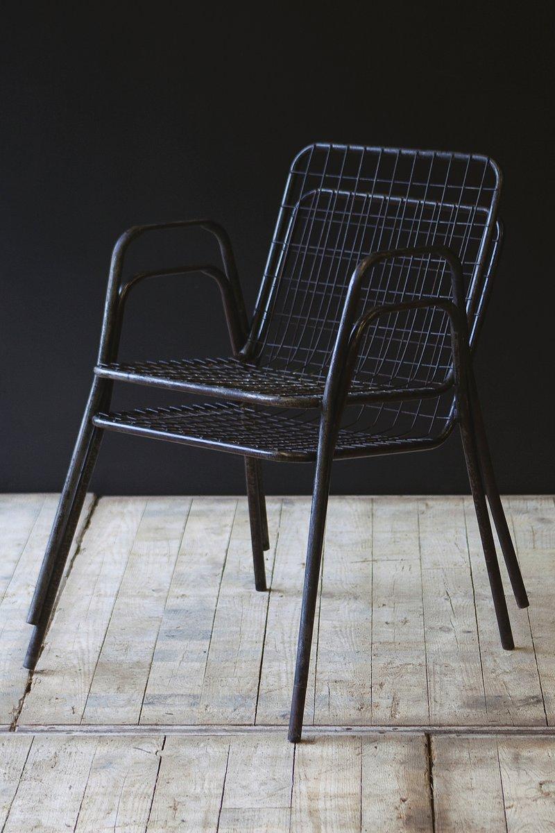 Vintage Metal Mesh Chairs, Set Of 2 For Sale At Pamono