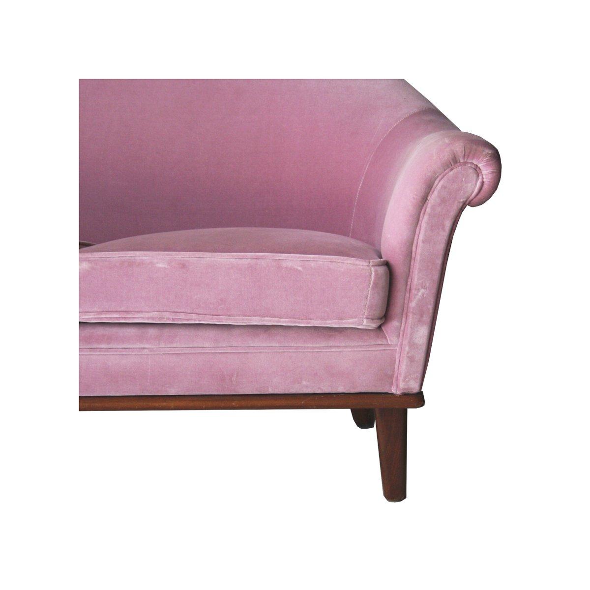 schwedisches samtsofa in rosa 1950er bei pamono kaufen. Black Bedroom Furniture Sets. Home Design Ideas
