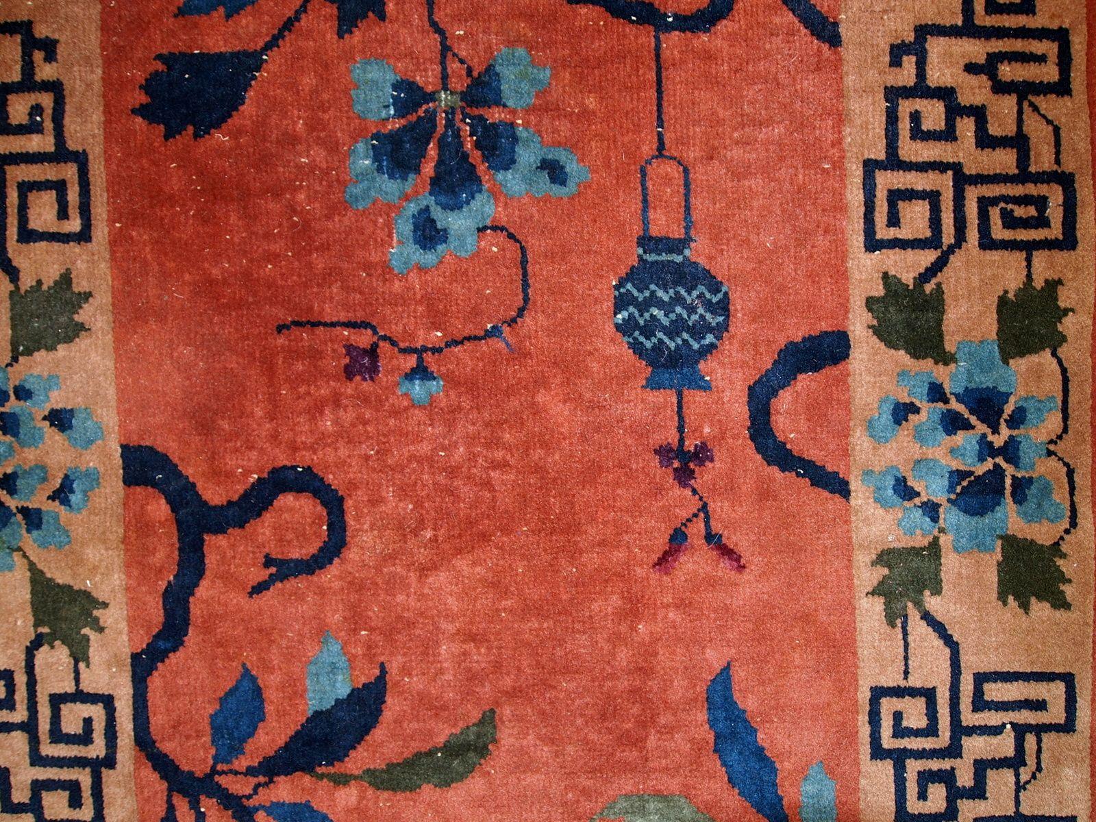 ziegelroter handgemachter chinesischer art deco teppich 1920er bei pamono kaufen. Black Bedroom Furniture Sets. Home Design Ideas
