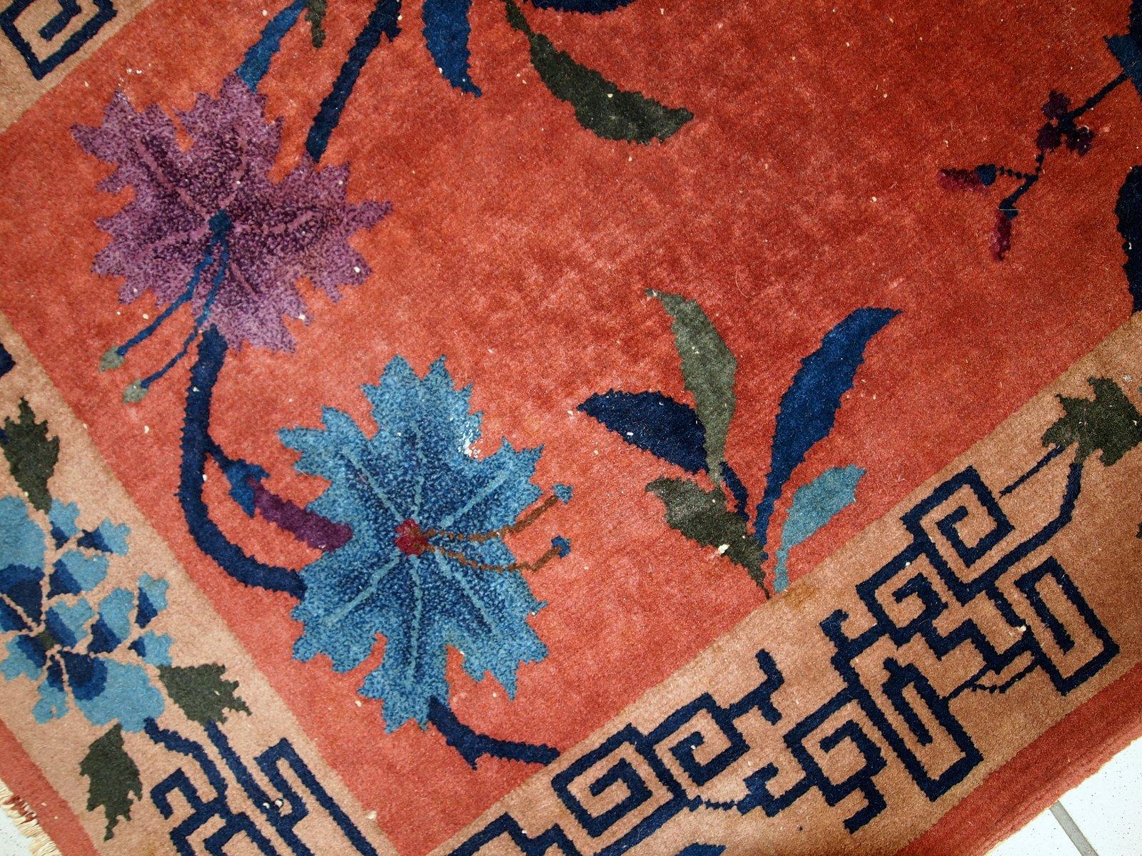 ziegelroter handgemachter chinesischer art deco teppich. Black Bedroom Furniture Sets. Home Design Ideas