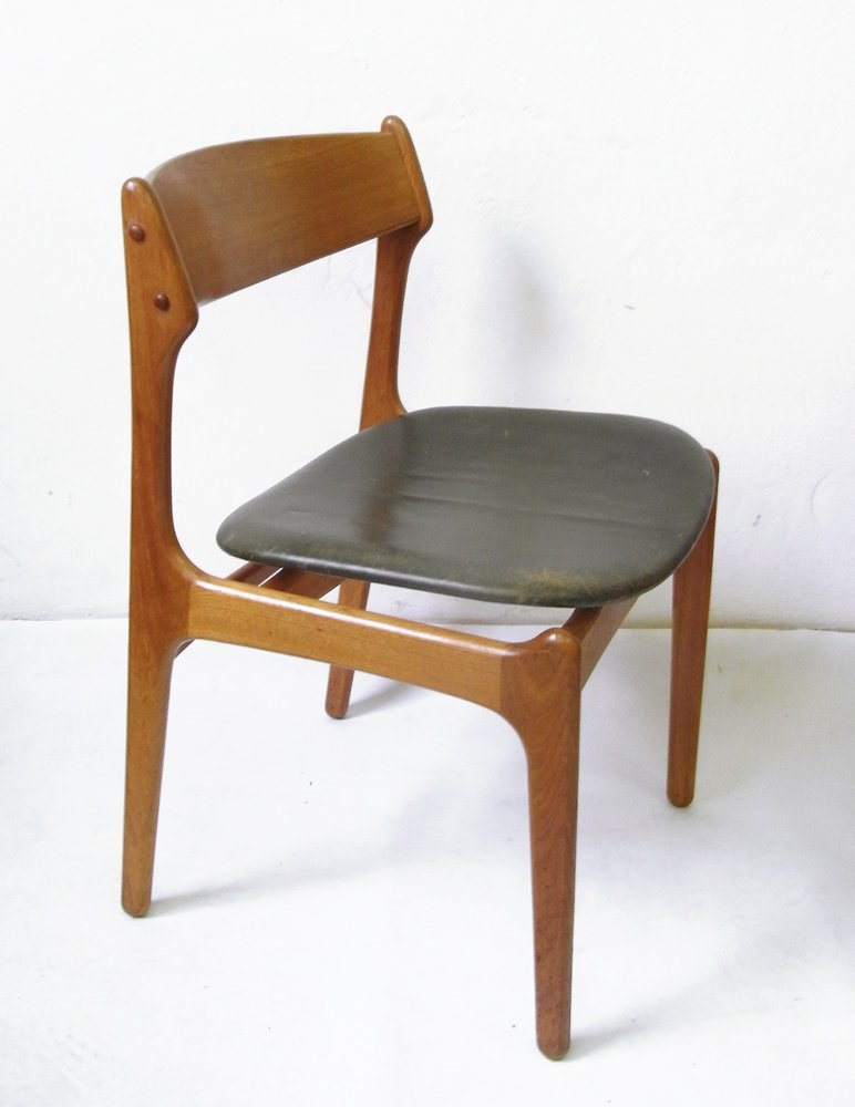 Vintage Teak Dining Chair with Genuine Leather by Erik Buch for