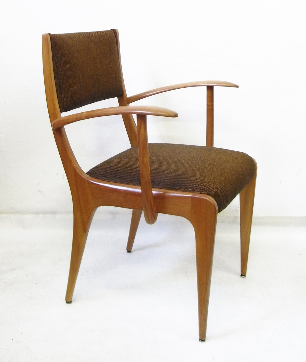 Vintage Cherrywood Amp Wool Armchair By Johannes Krahn For