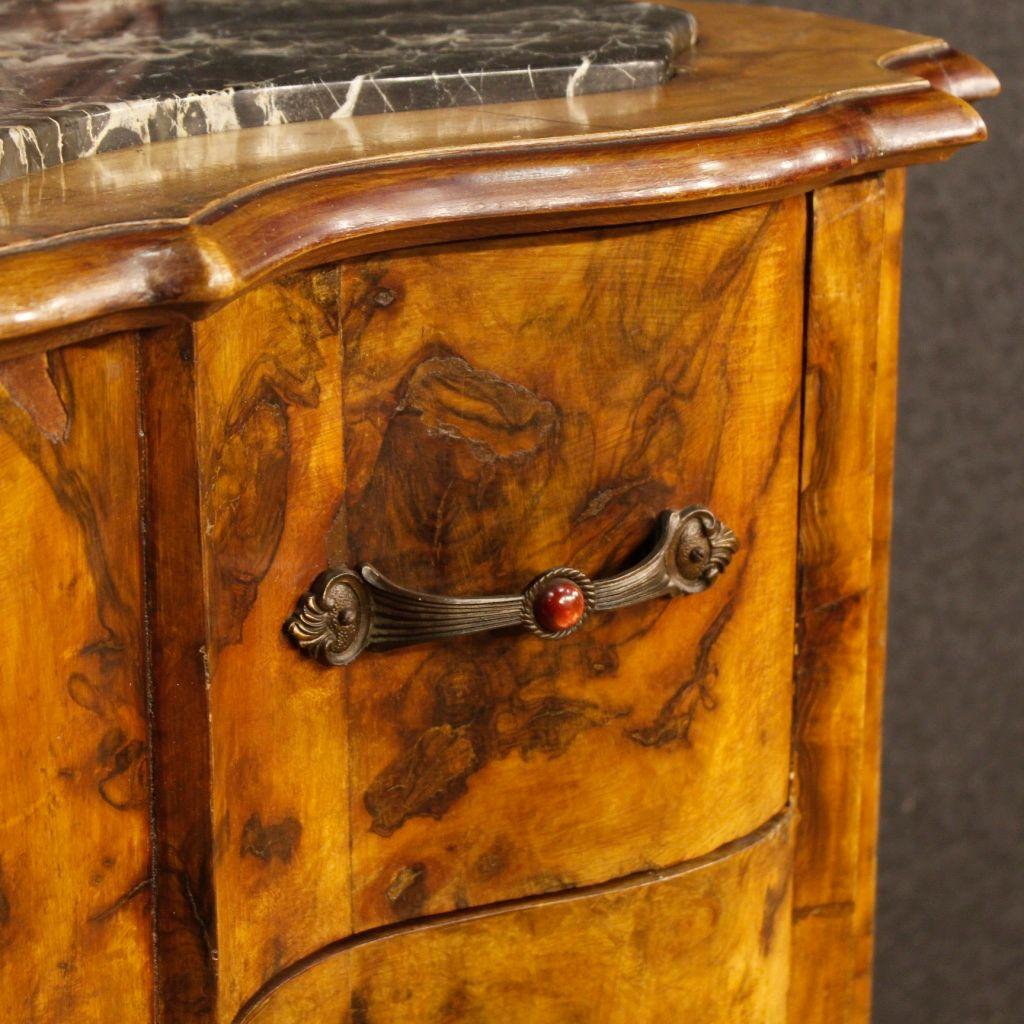 italienische mid century walnuss kommode mit spiegel bei. Black Bedroom Furniture Sets. Home Design Ideas