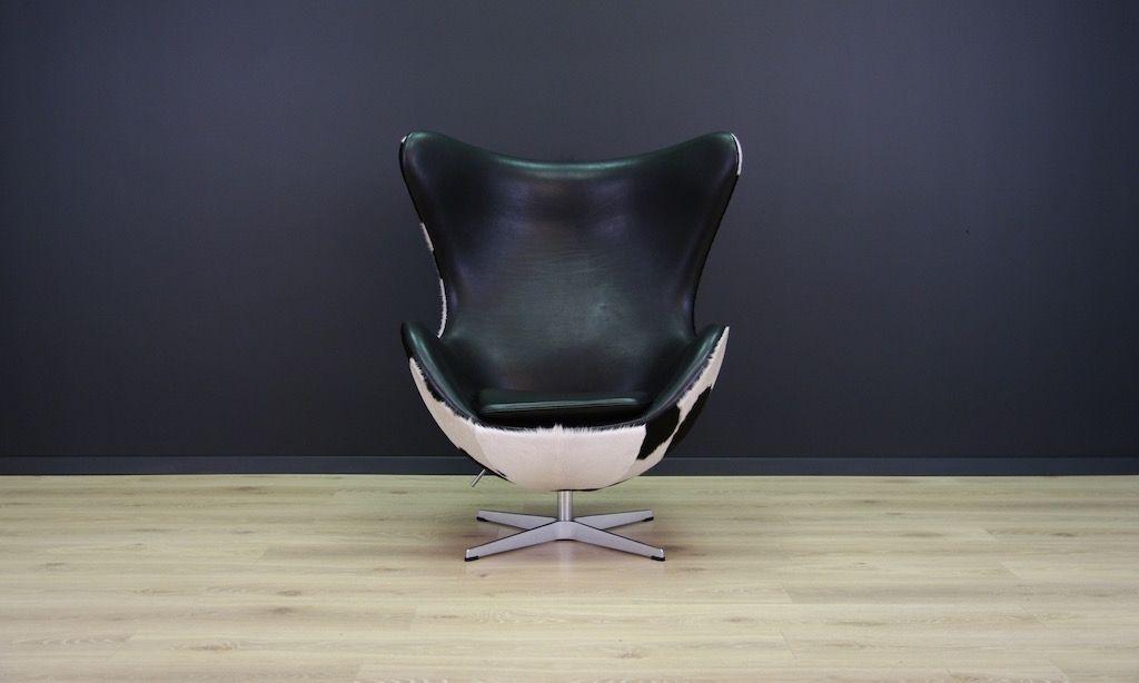 Dnischer Vintage Kuhfell Egg Chair Von Arne Jacobsen Fr Fritz Hansen 1980er  Bei Pamono Kaufen