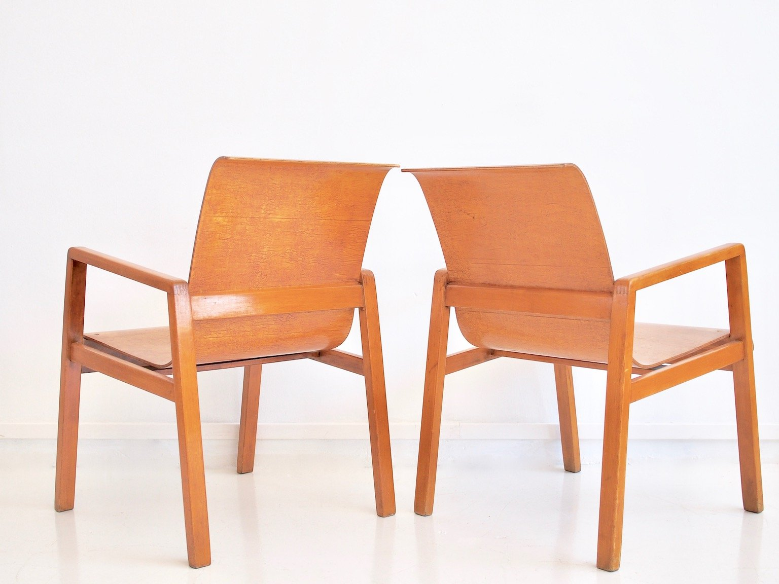 High Quality 403 Hallway Chairs By Alvar Aalto For Finmar, Set Of 2