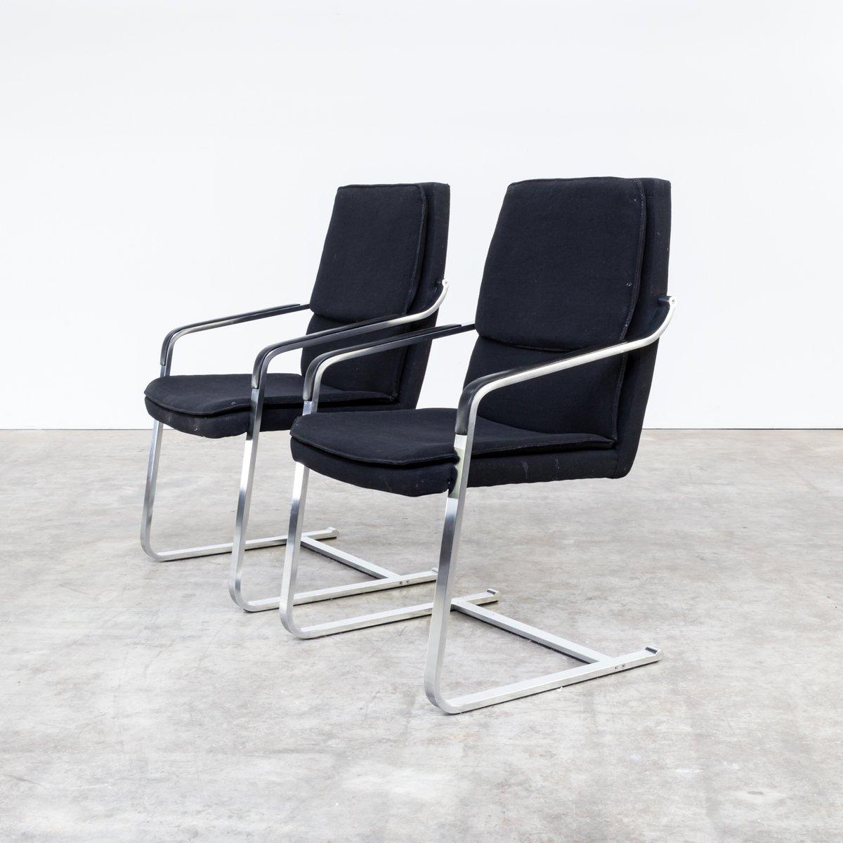 vintage st hle aus chrom schwarzem stoff von walter. Black Bedroom Furniture Sets. Home Design Ideas