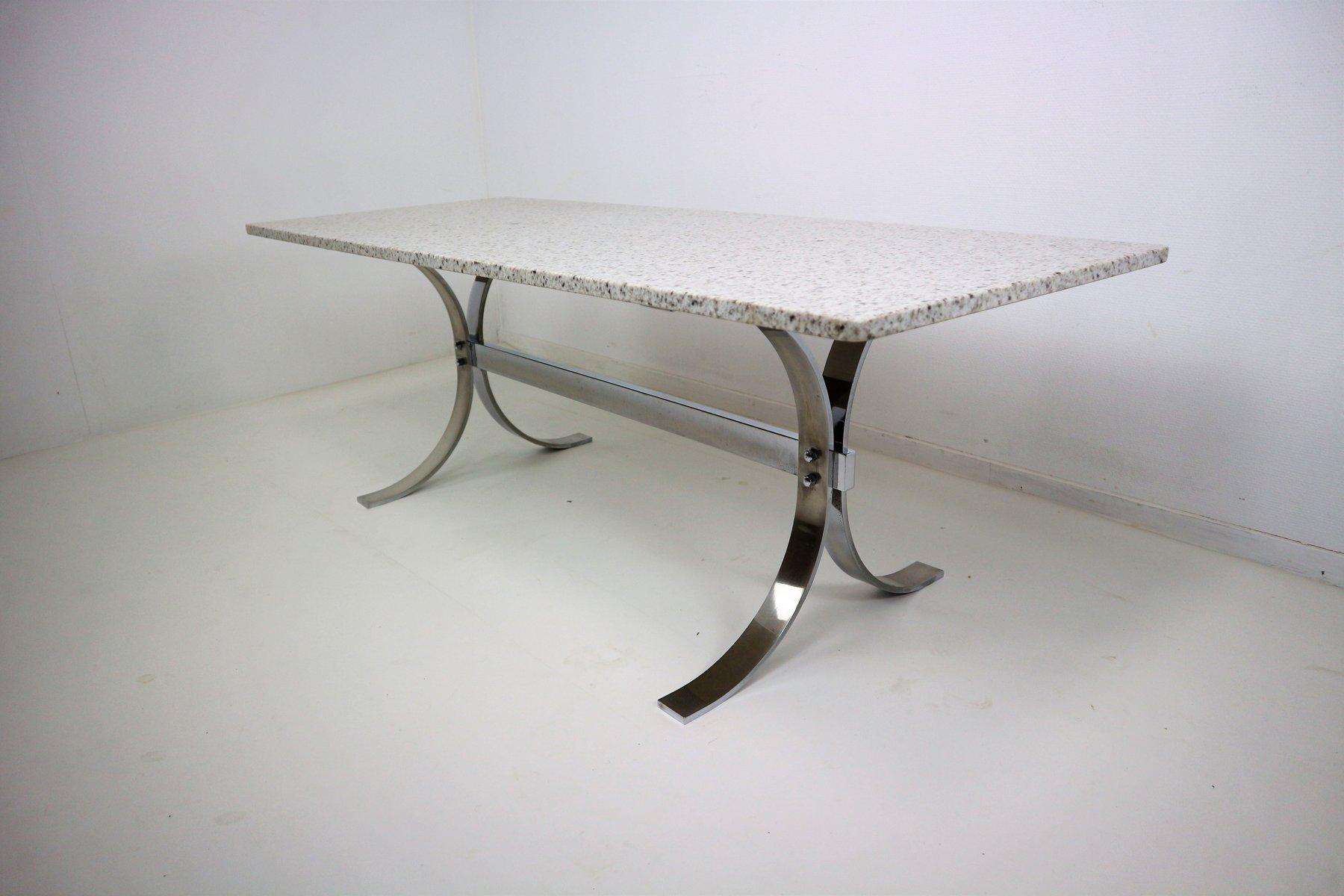 vintage granit chrom couchtisch bei pamono kaufen. Black Bedroom Furniture Sets. Home Design Ideas