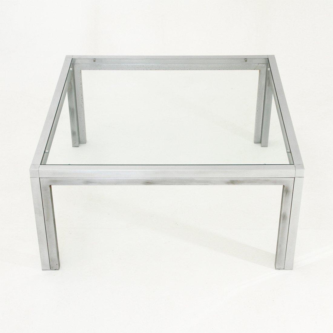 quadratischer couchtisch aus chrom glas 1970er bei. Black Bedroom Furniture Sets. Home Design Ideas