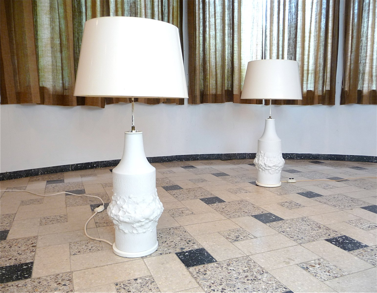 Large Bisque Relief Porcelain Table Lamps From Kaiser, 1960s, Set Of 2 For  Sale At Pamono