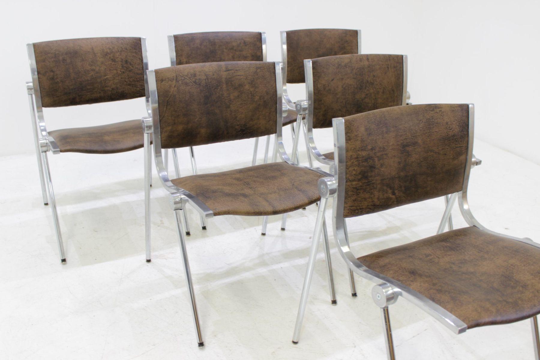 italienische aluminium st hle von vaghi 1960er 6er set bei pamono kaufen. Black Bedroom Furniture Sets. Home Design Ideas