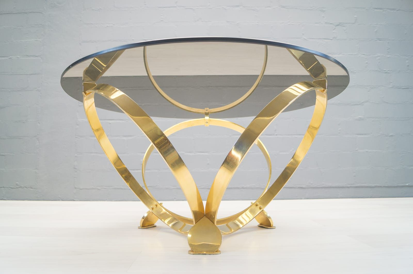 Vintage Brass U0026 Smoked Glass Coffee Table By Knut Hesterberg