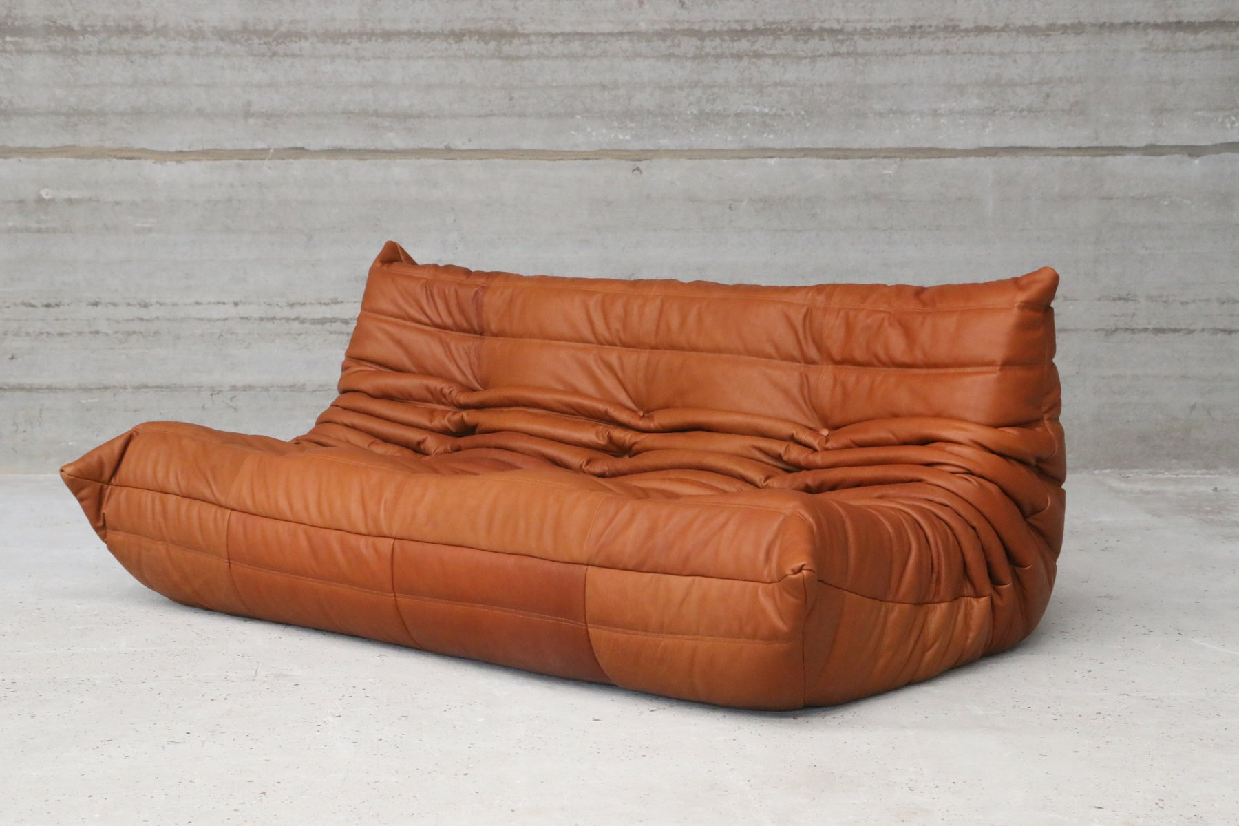 vintage togo cognac leather three seater sofa by michel. Black Bedroom Furniture Sets. Home Design Ideas