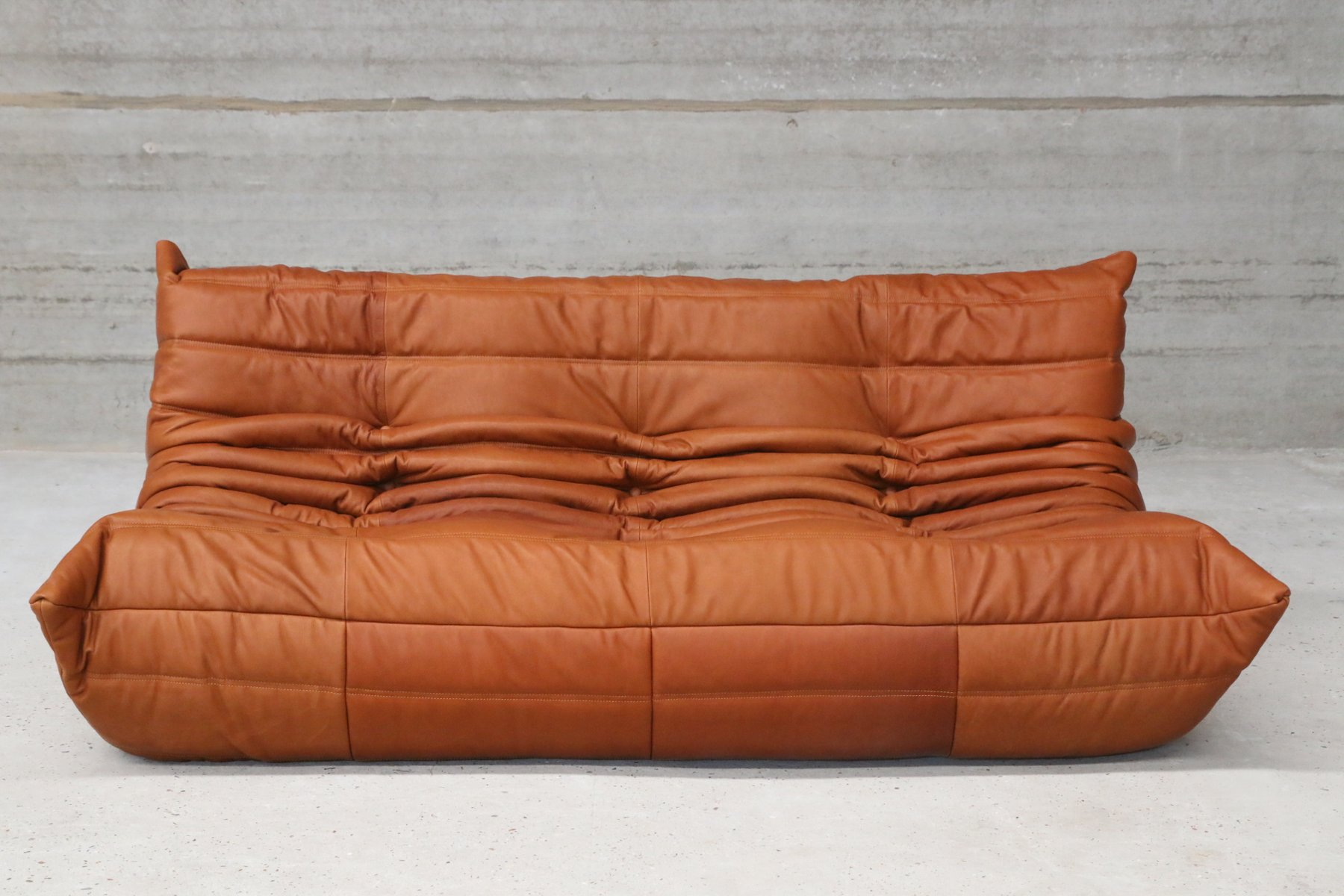Beautiful Vintage Togo Cognac Leather Three Seater Sofa By Michel Ducaroy For Ligne  Roset For Sale At Pamono