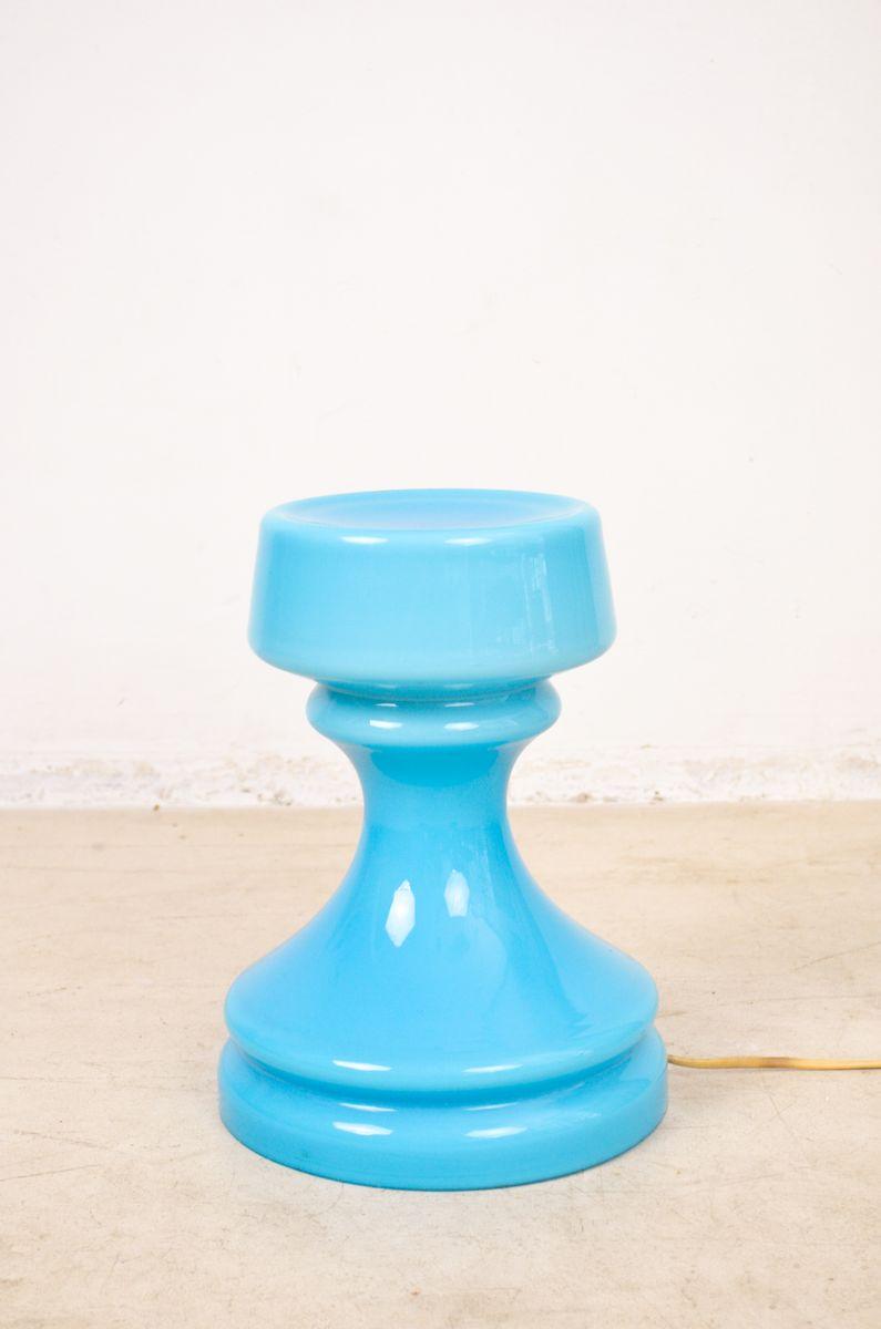blaue glas tischlampe 1960er bei pamono kaufen. Black Bedroom Furniture Sets. Home Design Ideas