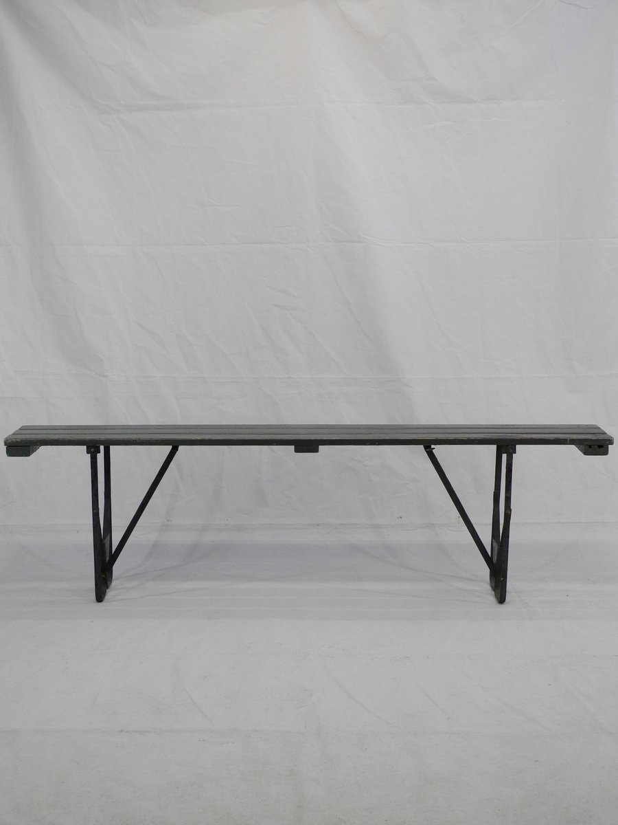 Vintage Wood U0026 Metal Folding Bench