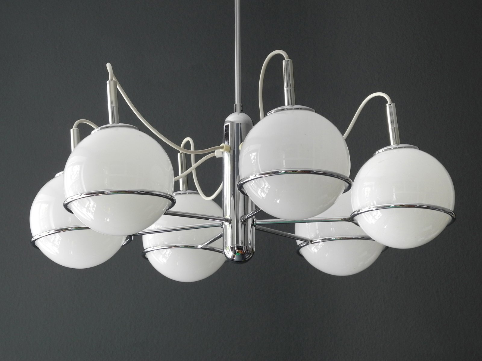 Italian Space Age Chrome Ceiling Lamp with Six Glass Balls 1960s