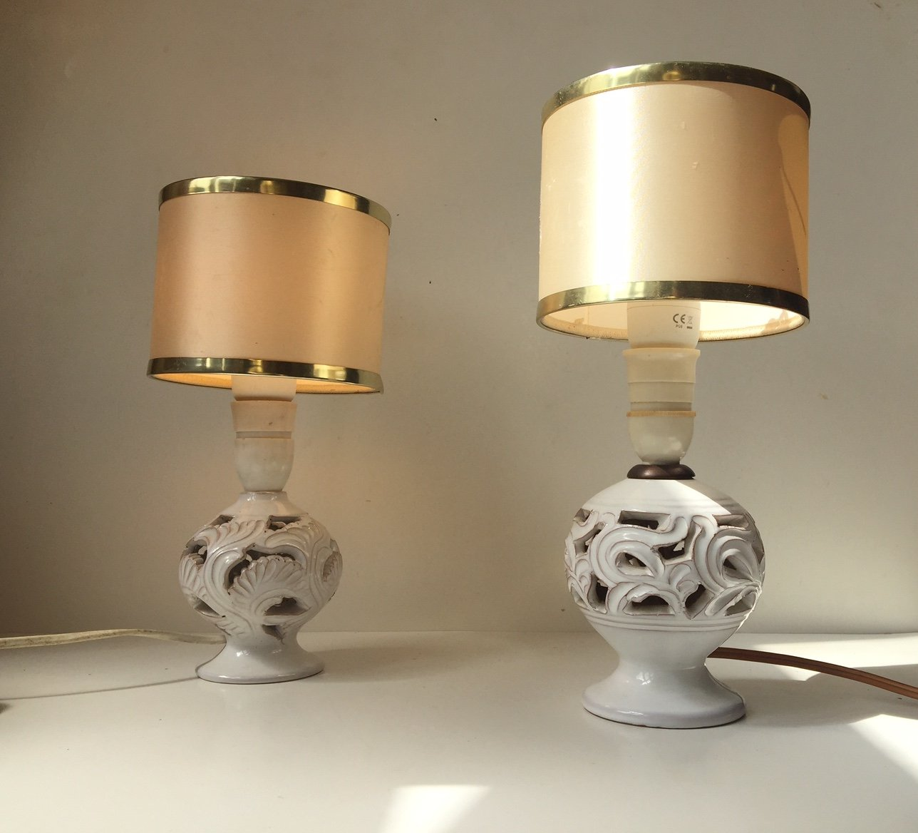 Marvelous Vintage Perforated Danish Pottery Table Lamps By Michael Andersen, Set Of 2  For Sale At Pamono
