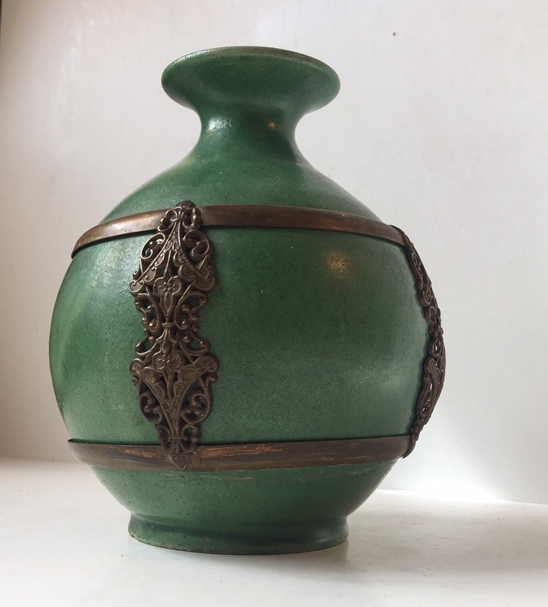 Antique green danish pottery vase with brass details by herman antique green danish pottery vase with brass details by herman august khler reviewsmspy