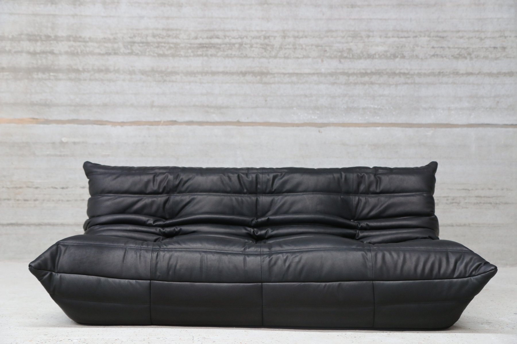 vintage three seater togo black leather sofa by michel. Black Bedroom Furniture Sets. Home Design Ideas