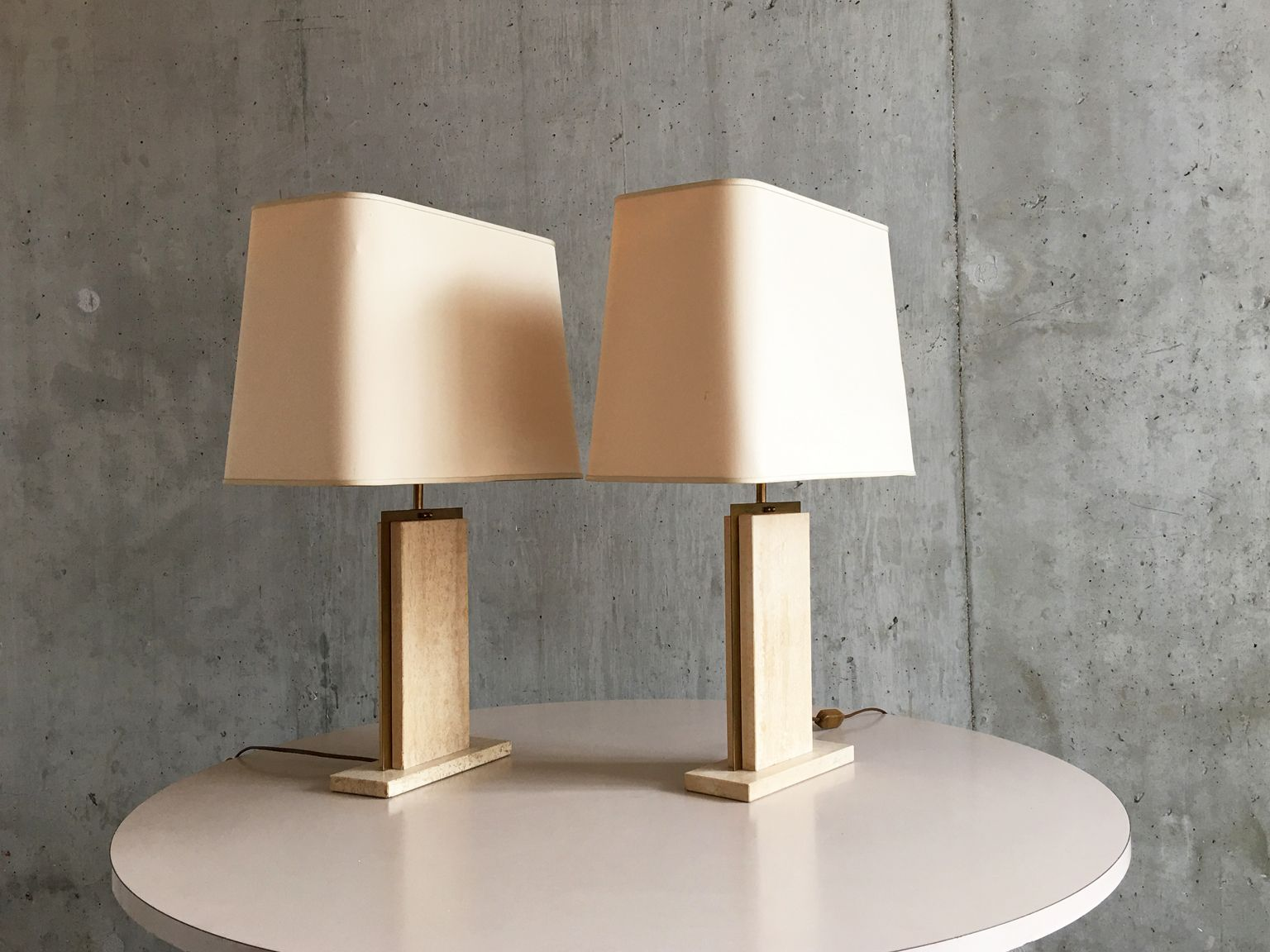 Amazing Belgian Travertine Marble Lamps By Camille Breesch, 1970s, Set Of 2 For  Sale At Pamono