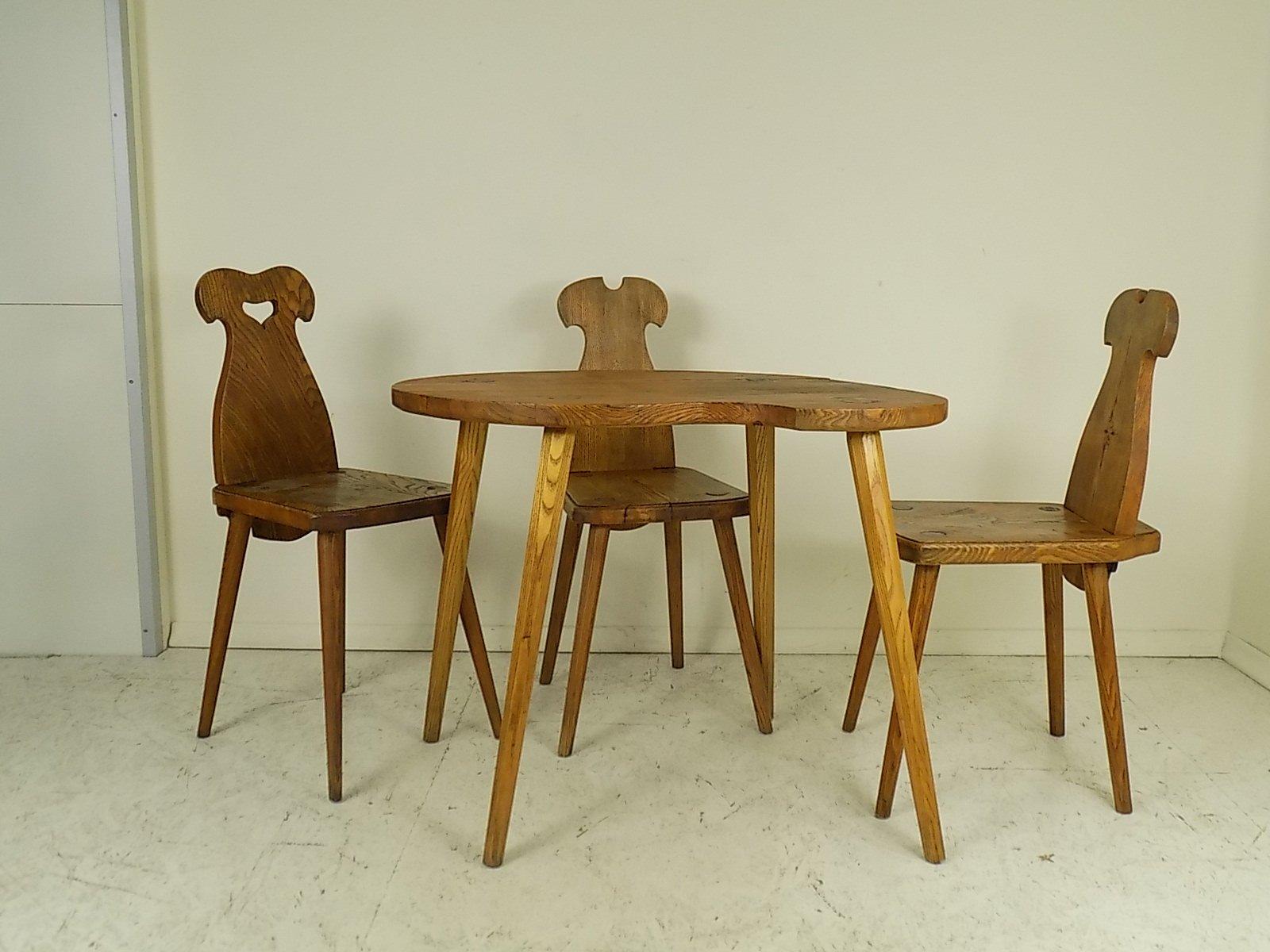 polnischer tisch drei st hle 1950er 4er set bei pamono kaufen. Black Bedroom Furniture Sets. Home Design Ideas
