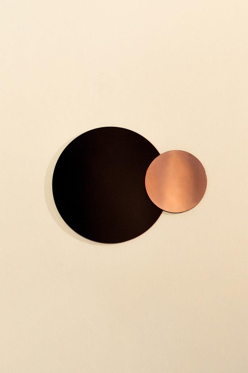runder moderner wandspiegel aus poliertem kupfer von nina cho bei pamono kaufen. Black Bedroom Furniture Sets. Home Design Ideas