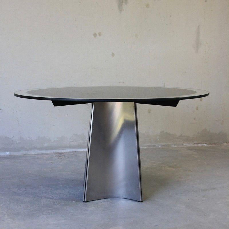 runder tisch mit glasplatte von luigi saccardo f r arrmet 1970er bei pamono kaufen. Black Bedroom Furniture Sets. Home Design Ideas