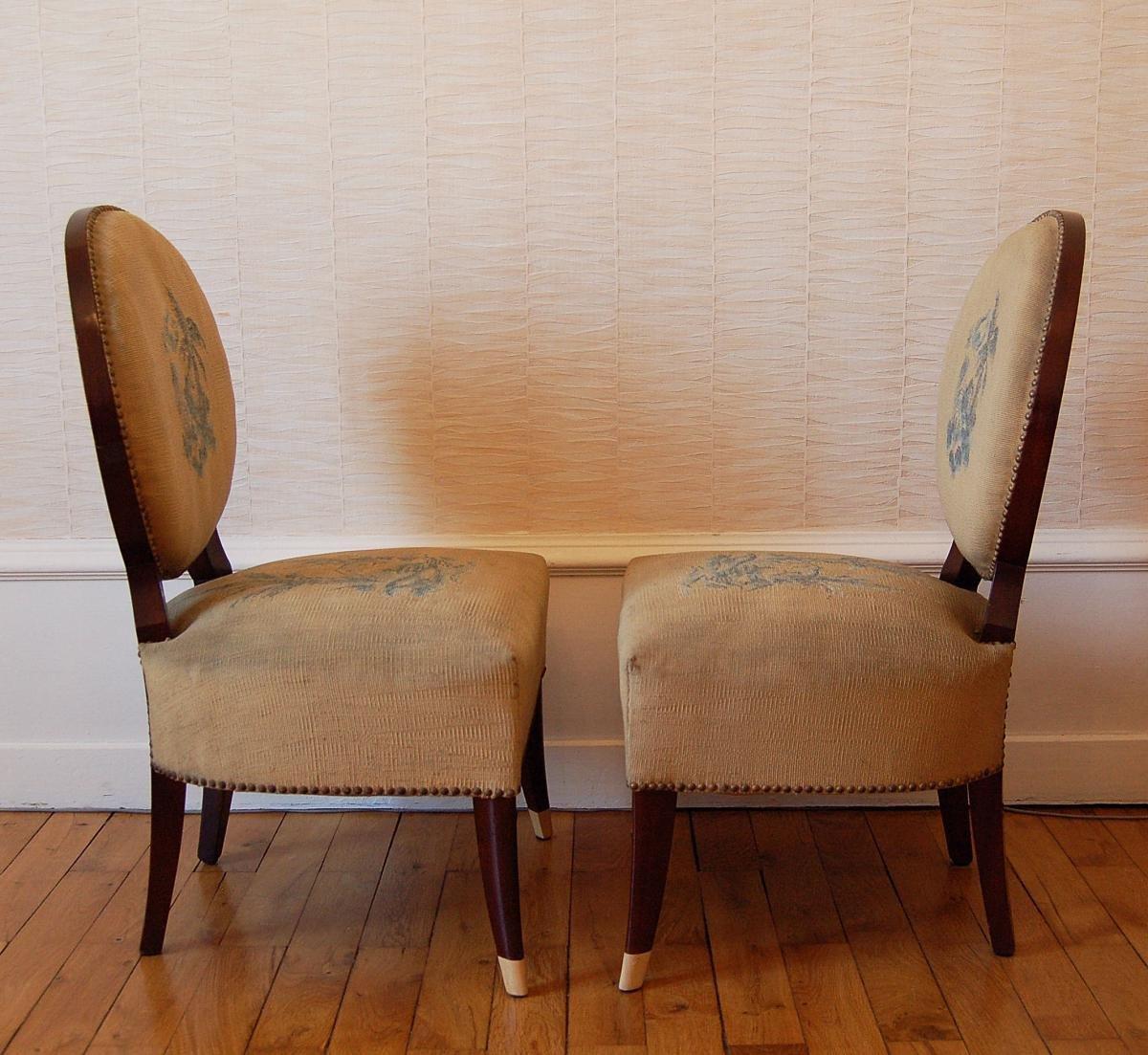 niedrige art deco mahagoni st hle 1940er 2er set bei. Black Bedroom Furniture Sets. Home Design Ideas