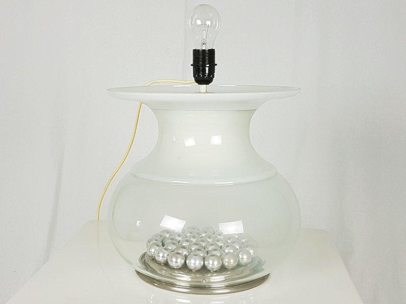 gro e italienische tischlampe aus glasfaser glas 1970er bei pamono kaufen. Black Bedroom Furniture Sets. Home Design Ideas