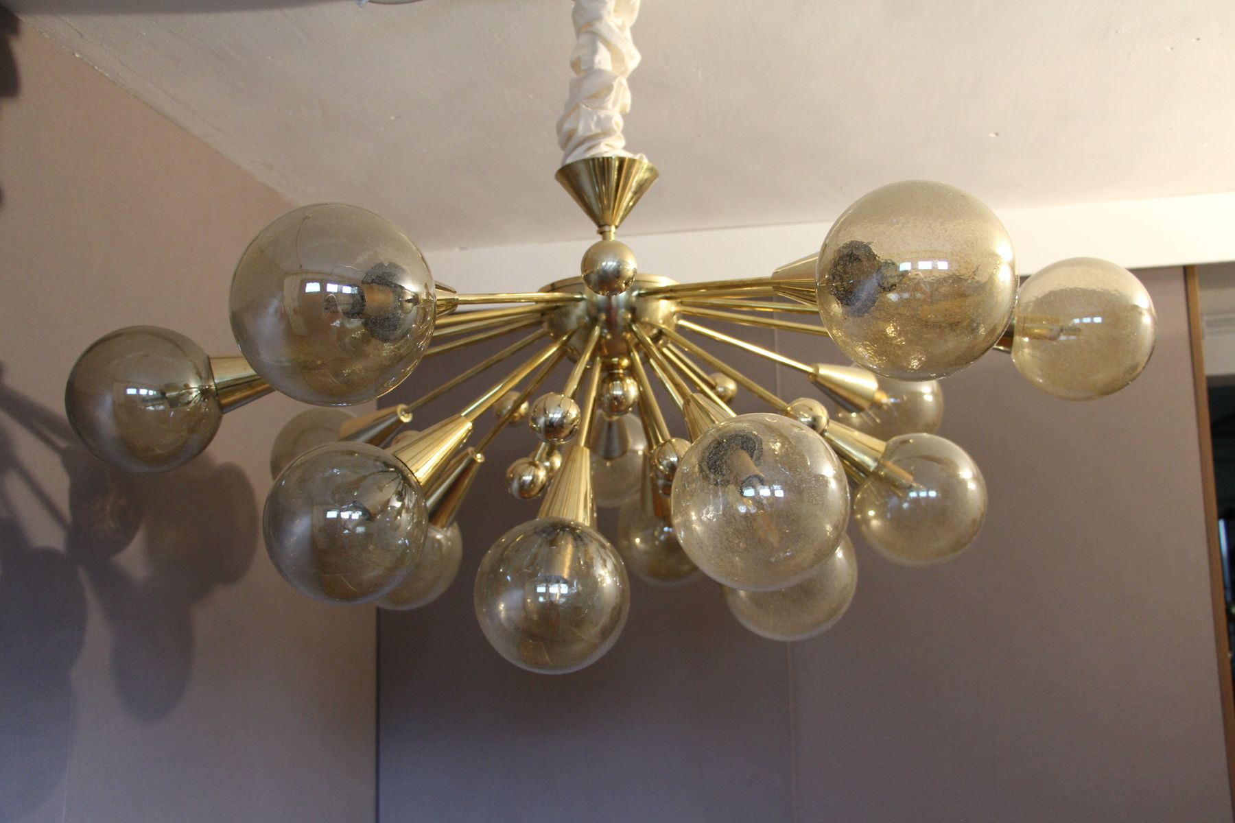 Vintage Gold Semi Sputnik Ceiling Light With Murano Glass