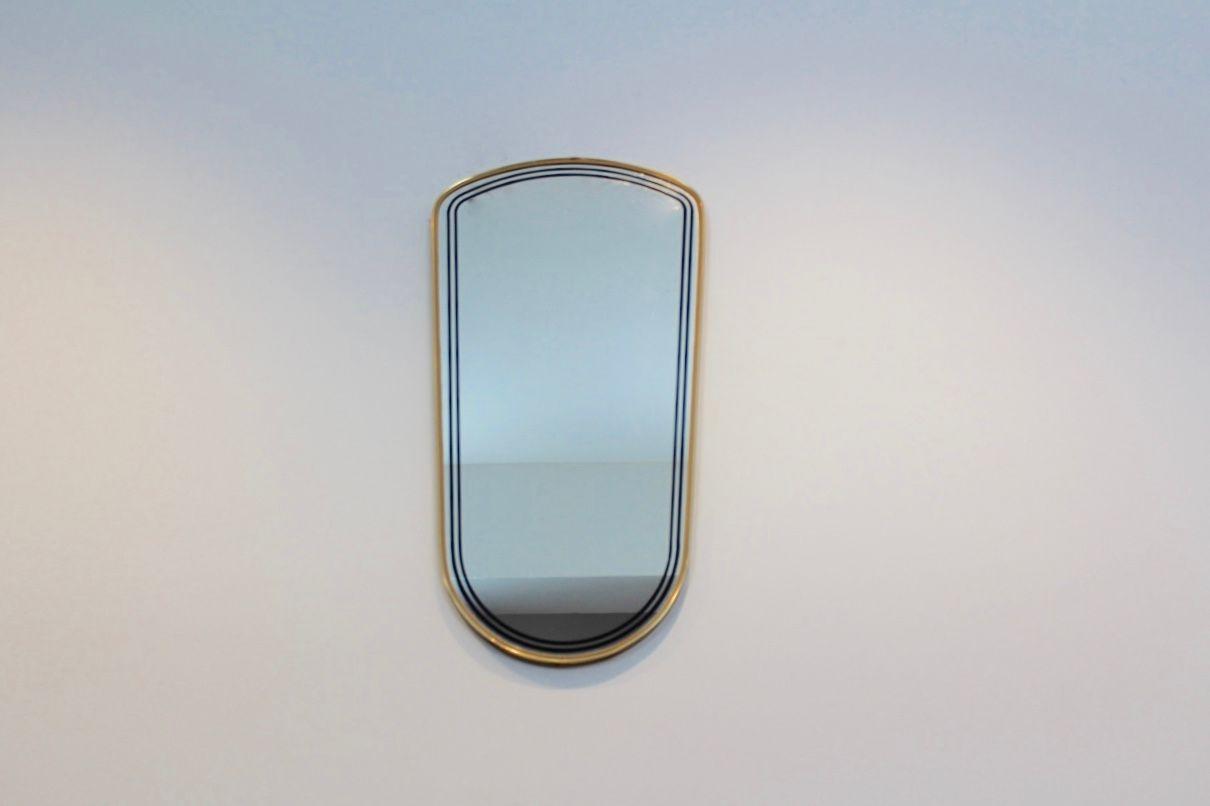 franz sischer mid century spiegel mit rahmen aus messing. Black Bedroom Furniture Sets. Home Design Ideas