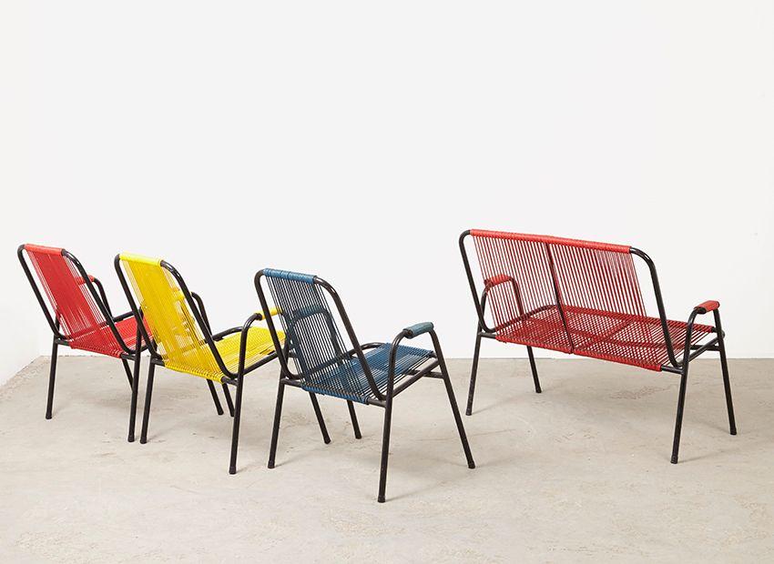 garten sitzm bel von spimeta harkema 1950er 4er set bei pamono kaufen. Black Bedroom Furniture Sets. Home Design Ideas